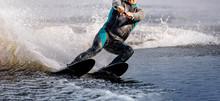 Man Riding Water Ski On Summer...