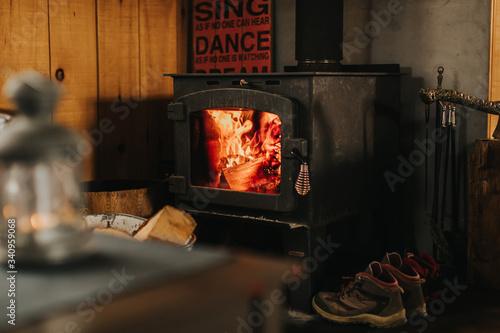 Photo Chalet réchauffé au poêle à bois