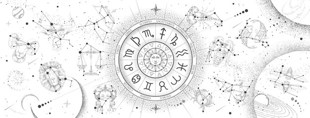 Astrology wheel with zodiac signs on constellation map background. Realistic illustration of  zodiac signs. Horoscope vector illustration