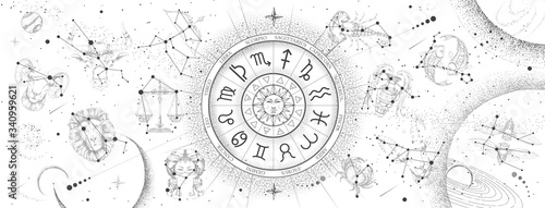 Leinwand Poster Astrology wheel with zodiac signs on constellation map background