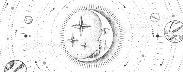Fototapeta Do sypialni Modern magic witchcraft card with astrology moon sign with human face. Realistic hand drawing vector illustration
