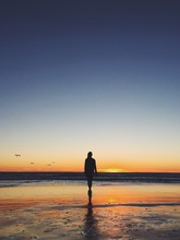 Rear View Of Woman Walking On Beach During Sunset