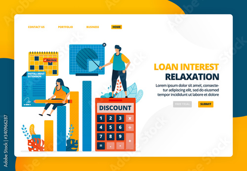 Photo Cartoon illustration of signing loan interest discount agreement for business stimulus