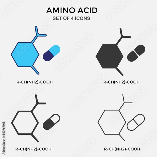 Photo amino acid carbon chain vector icon organic chemistry icon