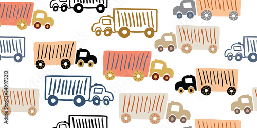 seamless pattern with toy trucks, kids pattern