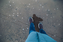 Female Feet In The Puddle Top ...