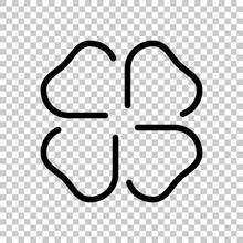 Four Leaf Clover, St Patricks Day Sign, Outline Design. Black Symbol On Transparent Background