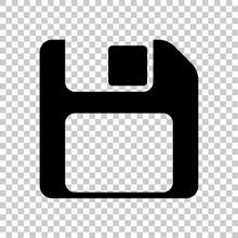 Diskette With Empty Label, Floopy Disk, Save File. Black Symbol On Transparent Background