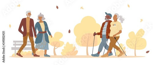 Old mature people couple walking in autumn park Canvas
