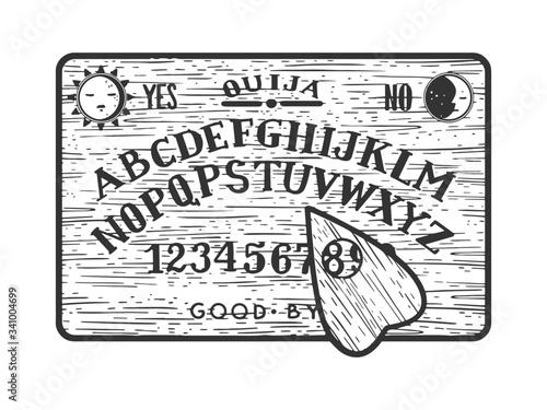 Valokuva ouija spirit talking board sketch engraving vector illustration
