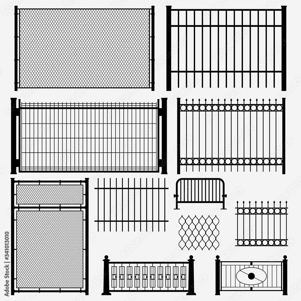 Fototapeta metal set black color fence