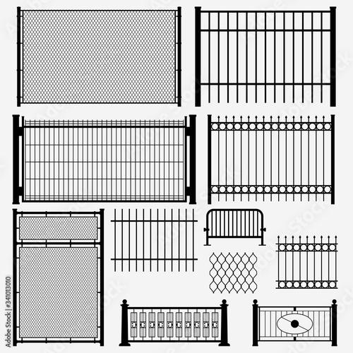 metal set black color fence Fototapet