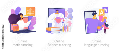 Online school subject learning abstract concept vector illustration set Canvas Print