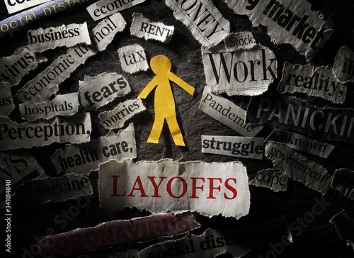 Cuadros en Lienzo Employee and  Layoffs headline, surrounded by Coronavirus and economic news