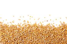 Mustard Seeds On A White Backg...