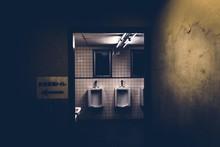 Interior Of Spooky Public Restroom