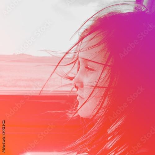Portrait Of Girl With Windswept Hair Slika na platnu