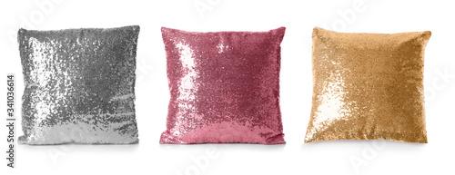 Fototapeta Set of different pillows on white background. Banner design
