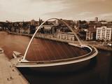 High Angle View Of Gateshead Millennium Bridge Over Tyne River