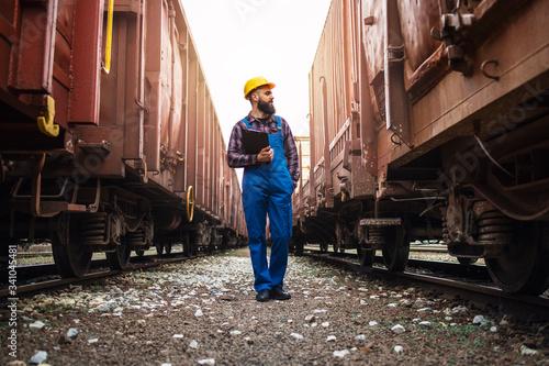 Railway transportation supervisor checking trains and cargo Fototapeta