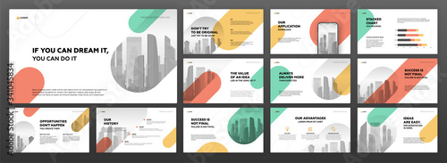 Leinwand Poster Business powerpoint presentation templates set