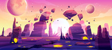 Alien Planet Landscape For Space Game Background. Vector Cartoon Fantasy Illustration Of Cosmos And Planet Surface With Rocks, Cracks, Glowing Spots And Mist For Gui Game Design