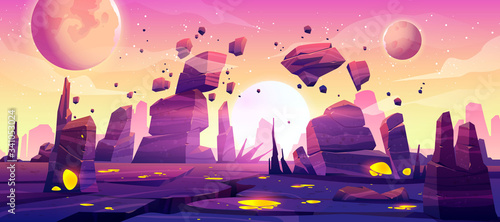 Fototapeta Alien planet landscape for space game background. Vector cartoon fantasy illustration of cosmos and planet surface with rocks, cracks, glowing spots and mist for gui game design obraz