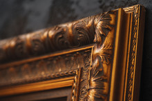 Beautiful Golden Frame On Blac...