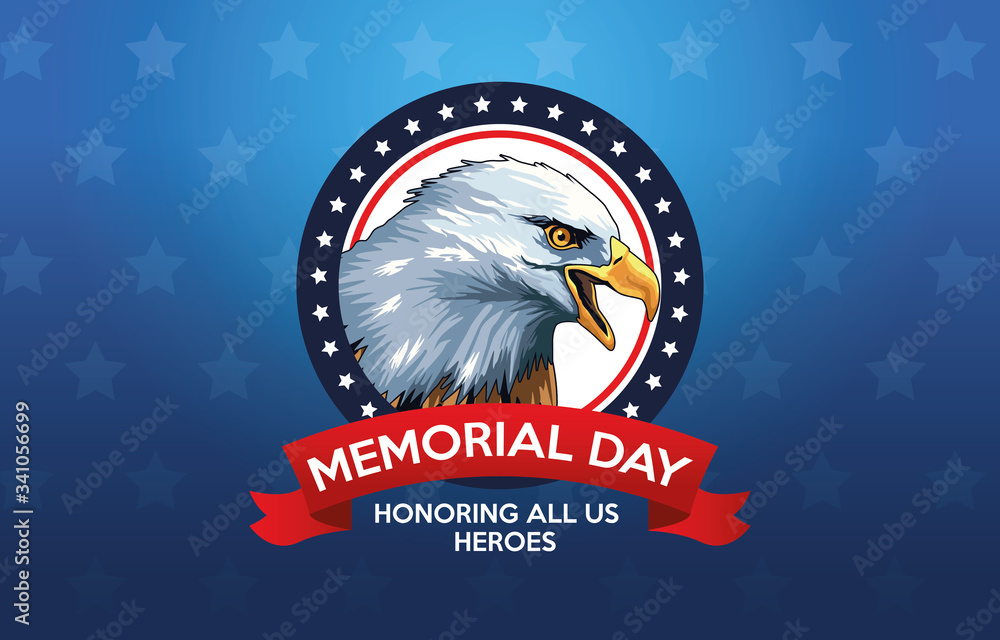 Fototapeta memorial day celebration poster with eagle
