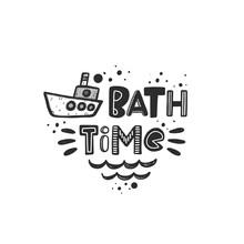 Bath Time Stylized Black Ink L...