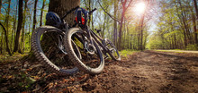 Two Mountain Bikes Leaned On A...