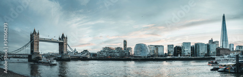 UK, England, London, Panorama of River Thames and surrounding city buildings - 341066293