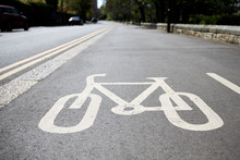 Bicycle Road Sign Painted On C...