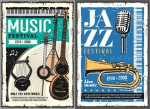 Musical Festival Of Jazz And Folk Music Grunge Posters. Vector Musical Instruments, Retro Microphone And Horn, Piano Keyboard, Vintage Lyre Or Cither, Turkish Saz, Persian Kamancheh And Music Notes