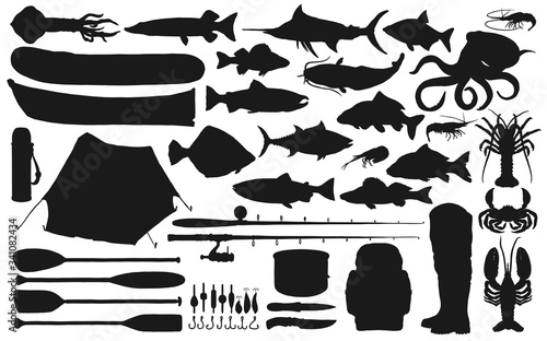 Fisherman equipment, tackle and fish black silhouettes of fishing sport vector design Canvas Print