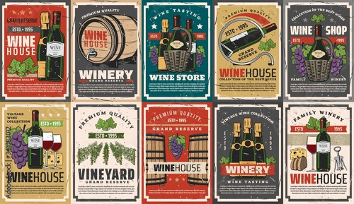 Fotografie, Obraz Wine and champagne winery drinks vector design with alcohol beverage bottles, barrels and glasses, grapes, vineyard grape vines and corkscrew, cheese and bread snack food