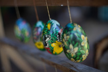 Easter Eggs Hanging From Fence