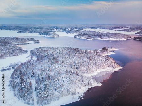 Frosty Ladoga lake shore sunrise Fototapet