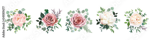 Fototapeta Dusty pink blush, white and creamy rose flowers vector design wedding bouquets obraz