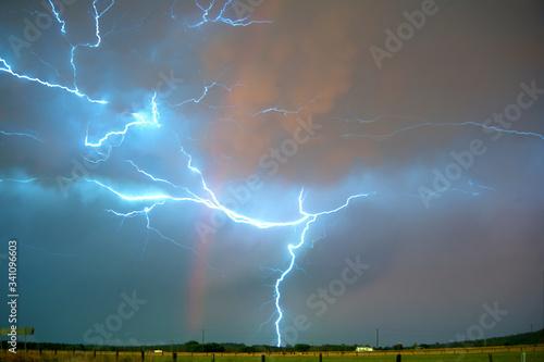 Fototapety, obrazy: Lightning In Sky At Night