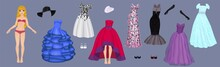 Paper Doll Of A Pretty Blond Girl With A Variety Of Paper Evening Dresses, Hats, Gloves And Shoes