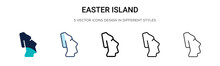 Easter Island Icon In Filled, Thin Line, Outline And Stroke Style. Vector Illustration Of Two Colored And Black Easter Island Vector Icons Designs Can Be Used For Mobile, Ui,