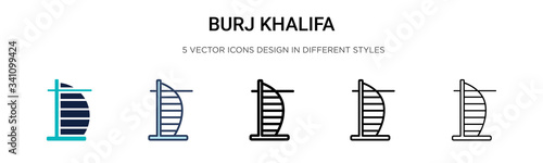 Photographie Burj khalifa icon in filled, thin line, outline and stroke style