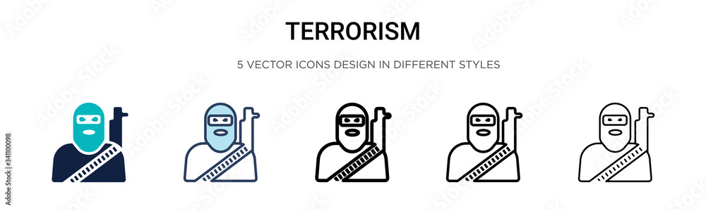 Fototapeta Terrorism icon in filled, thin line, outline and stroke style. Vector illustration of two colored and black terrorism vector icons designs can be used for mobile, ui,