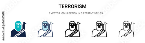 Fotomural Terrorism icon in filled, thin line, outline and stroke style
