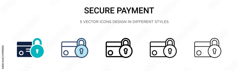 Fototapeta Secure payment icon in filled, thin line, outline and stroke style. Vector illustration of two colored and black secure payment vector icons designs can be used for mobile, ui,