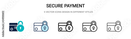 Fotografie, Obraz Secure payment icon in filled, thin line, outline and stroke style