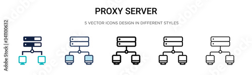 Proxy server icon in filled, thin line, outline and stroke style Wallpaper Mural