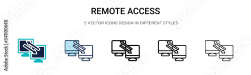 Remote access icon in filled, thin line, outline and stroke style Wallpaper Mural