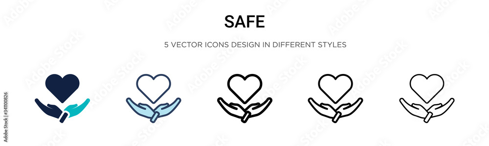 Fototapeta Safe icon in filled, thin line, outline and stroke style. Vector illustration of two colored and black safe vector icons designs can be used for mobile, ui,